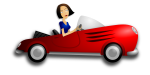 Car Cartoon with Woman Driver