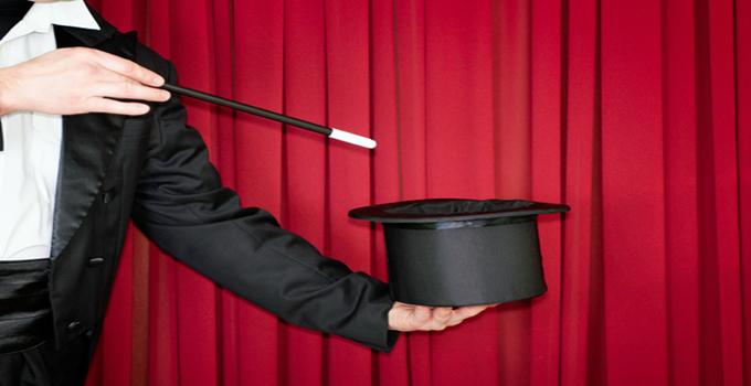 Magic trick on stage